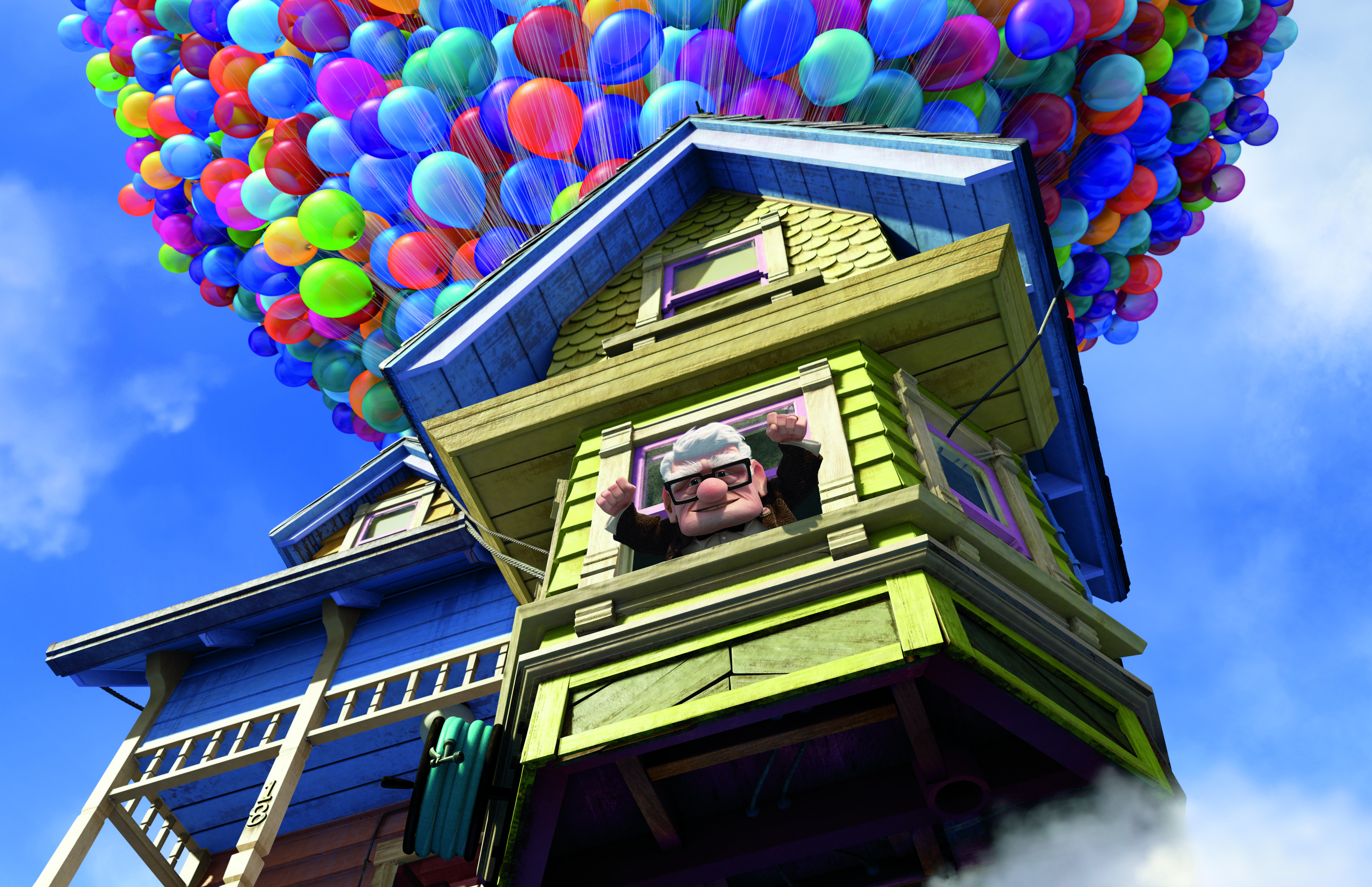 """Carl Frederickson launches his house into the sky in the movie """"Up."""""""