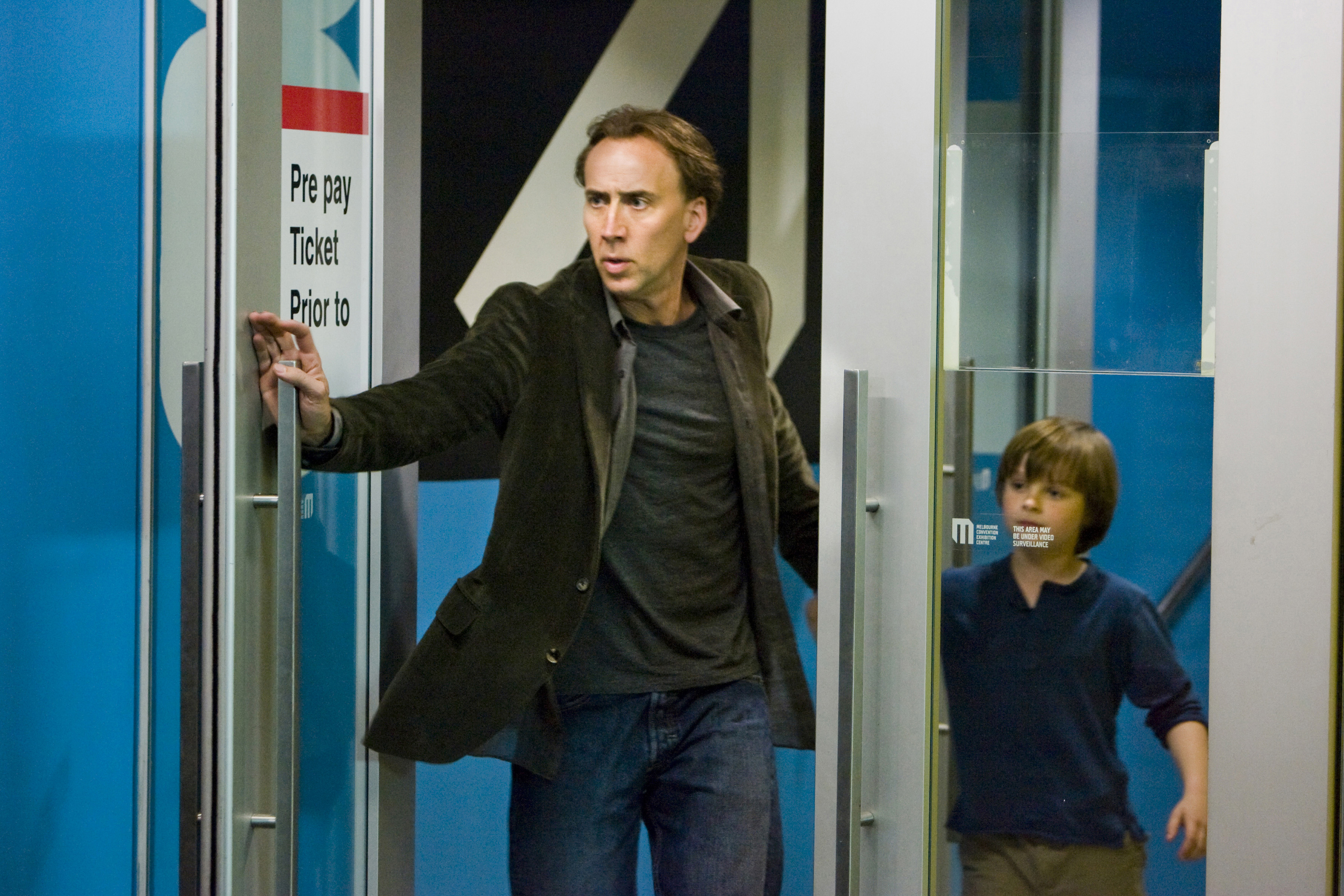 """Nicolas Cage, left, and Chandler Canterbury star in the science-fiction thriller """"Knowing."""""""