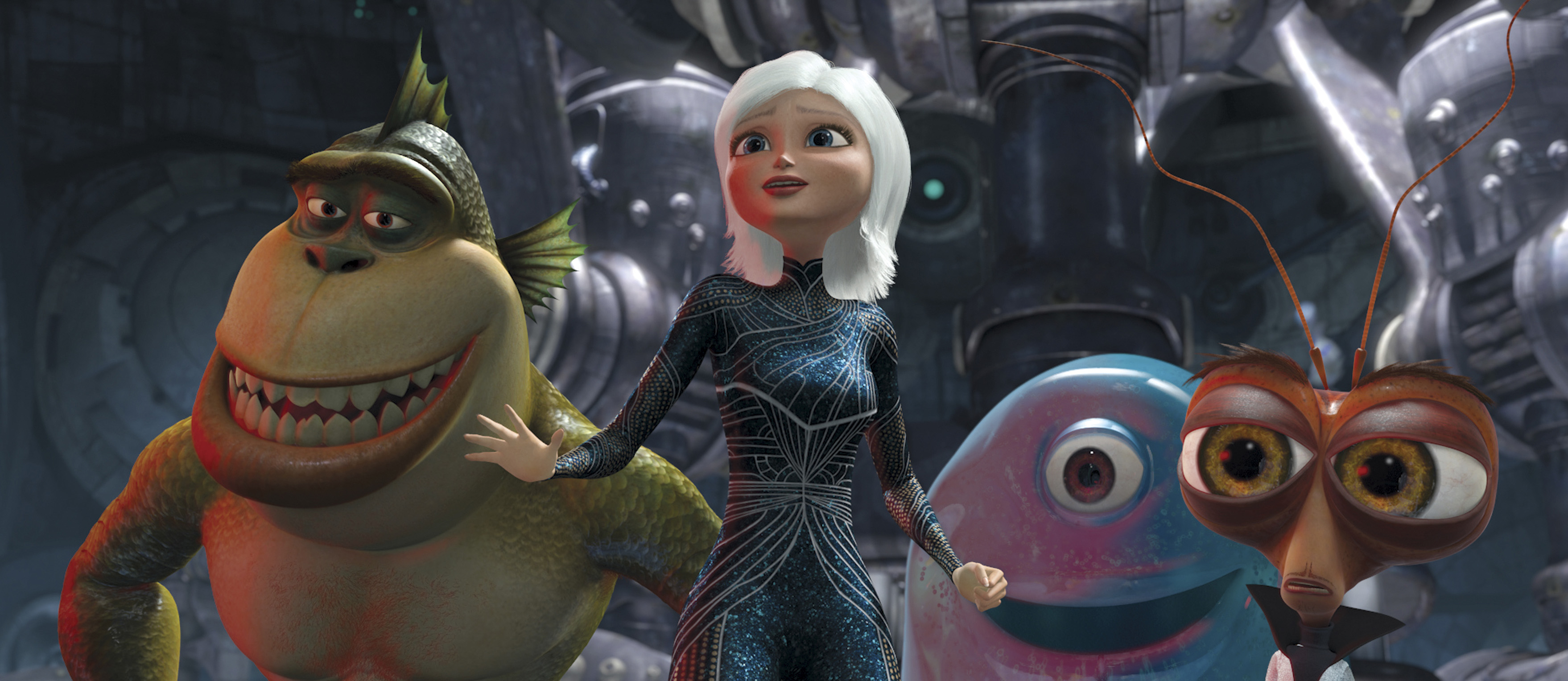 "From left, The Missing Link, Ginormica, B.O.B. and Dr. Cockroach in a scene from the animated movie ""Monsters Vs. Aliens."""
