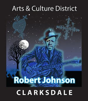 Sign honoring Robert Johnson in downtown Clarksdale Arts & Culture District.