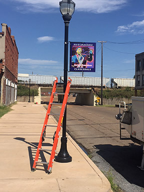 The Jackie Brenston sign after being placed on Clarksdale's historic Issaquena Ave. (photo by Richard Bolen).