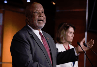 Rep. Bennie Thompson joins then-House Minority Leader Nancy Pelosi, D-Calif., right, at the Capitol in Washington, Thursday, June 29, 2017. (Photo J. Scott Applewhite, Associated Press)