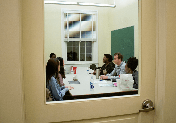 For several weeks, six University of Mississippi students met in a study room at the Croft Institute for International Studies to develop a plan to move the school's Confederate monument from the heart of campus. (Photo Grace Marion)