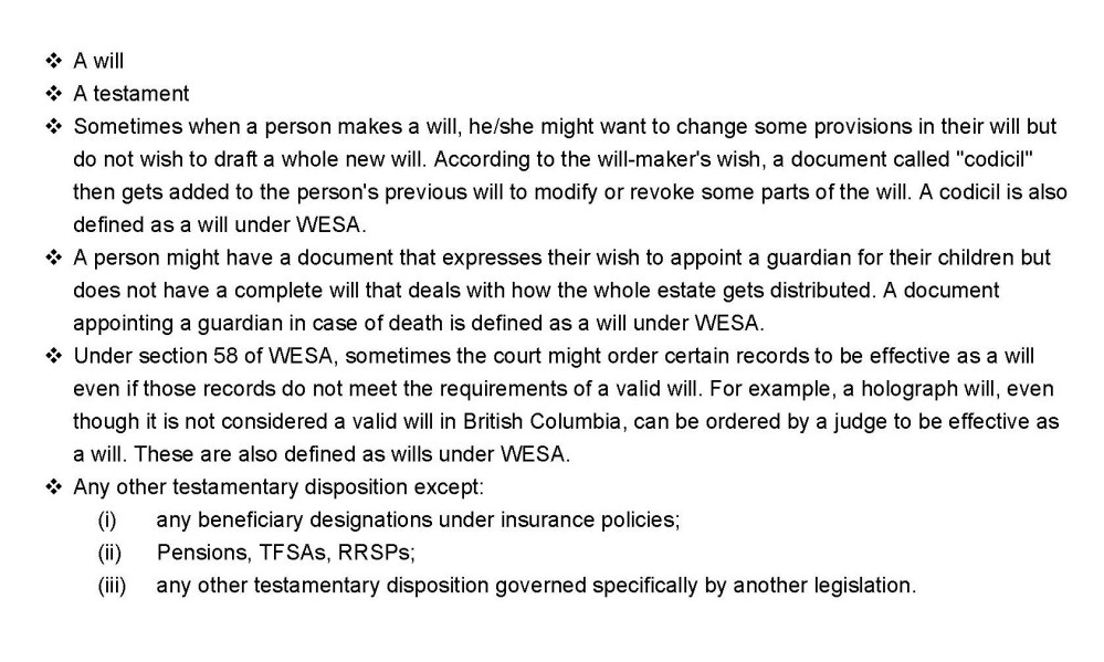 WESA's definition of a Will