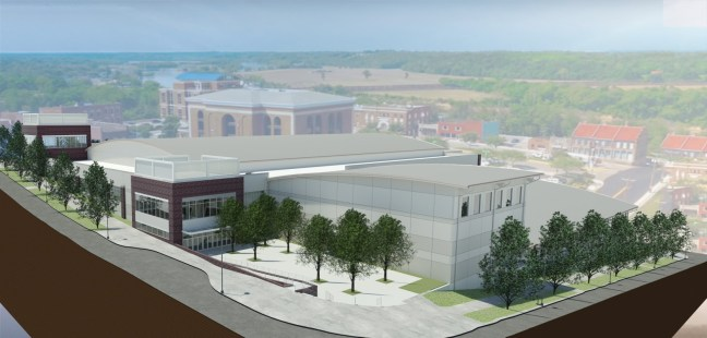 Plans for the MPEC, shown from Second and College Streets.