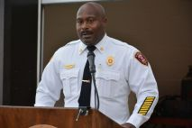 Clarksville Fire Rescue Chief Freddie Montgomery at the ribbon cutting for the new CFR maintenance garage on Wed July 7 2021 (Lee Erwin).
