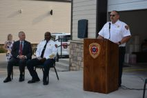 L-R, Clarksville Mayor Joe Pitts, Clarksville Fire Rescue Chief Freddie Montgomery, and Clarksville Fire Rescue Assistant Chief of Maintenance, Bobby Nall, at the ribbon cutting of the new CFR Maintenance Garage on Wed July 7 2021 (Lee Erwin).