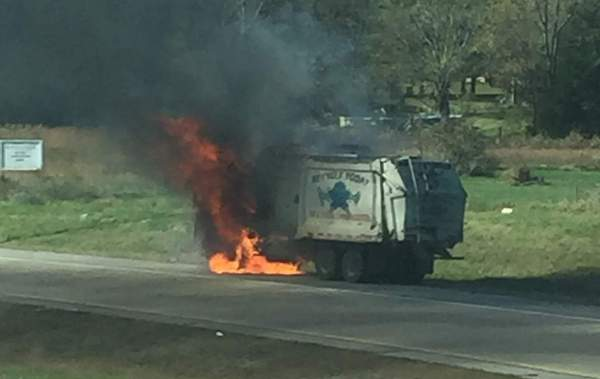 Garbage truck catches fire at Clarksville intersection ...