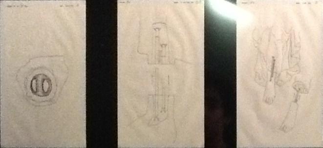 Desenhos explicativos da estrutura das esculturas.