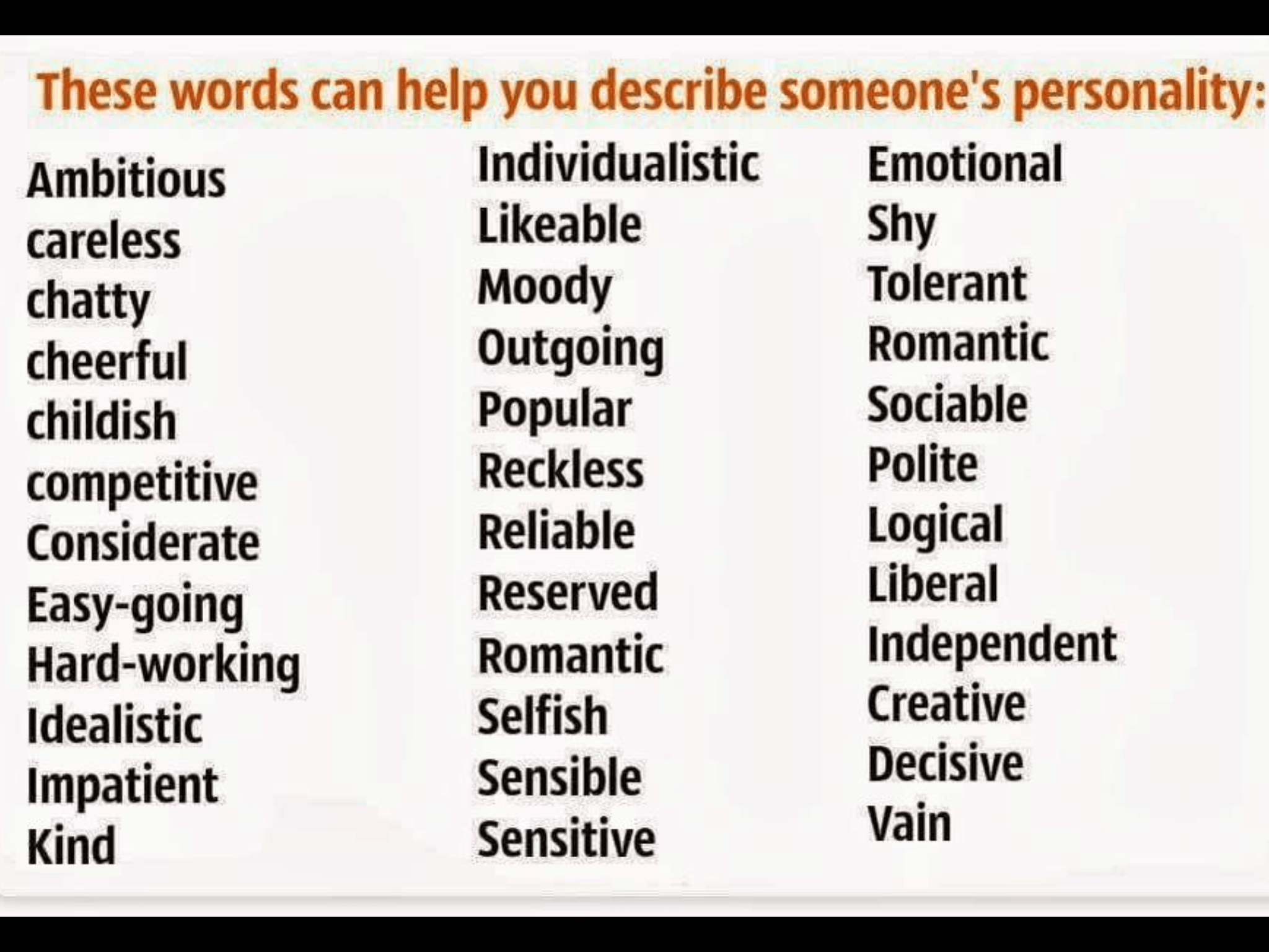 Adjectives To Describe Someone S Personality