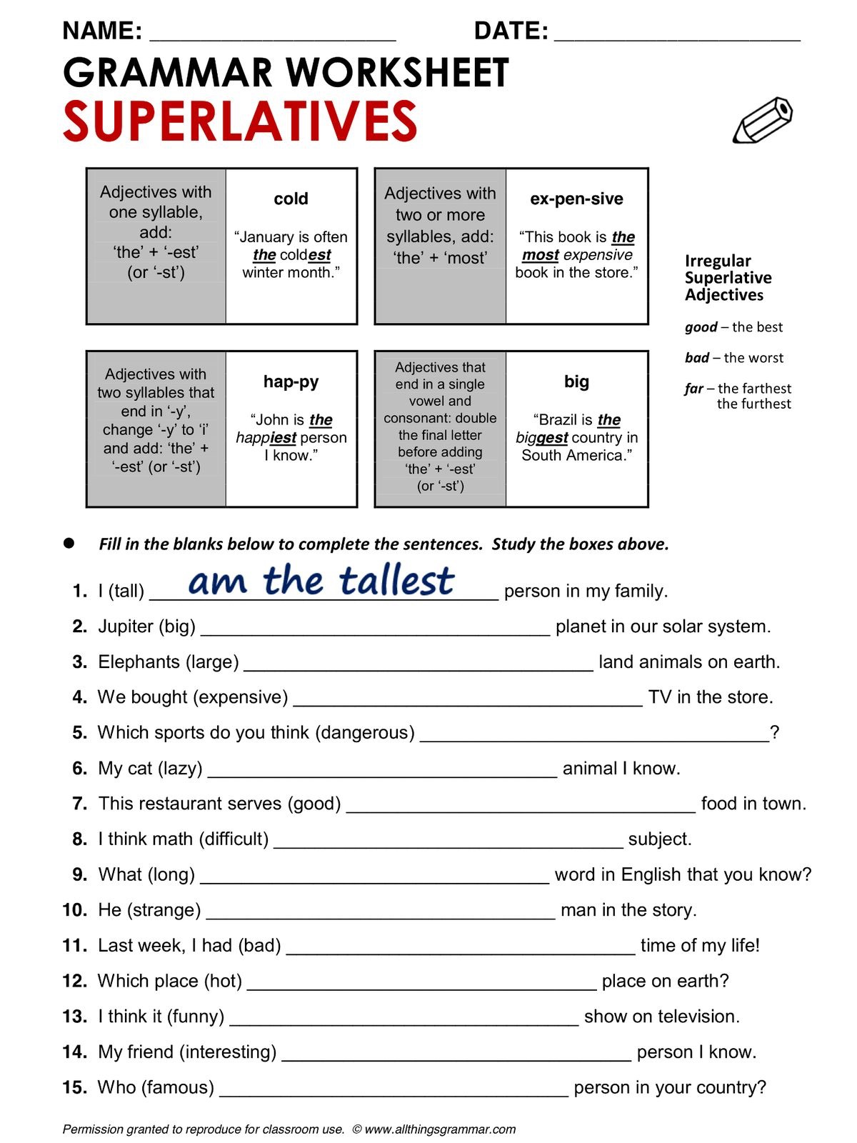 Superlatives Worksheet
