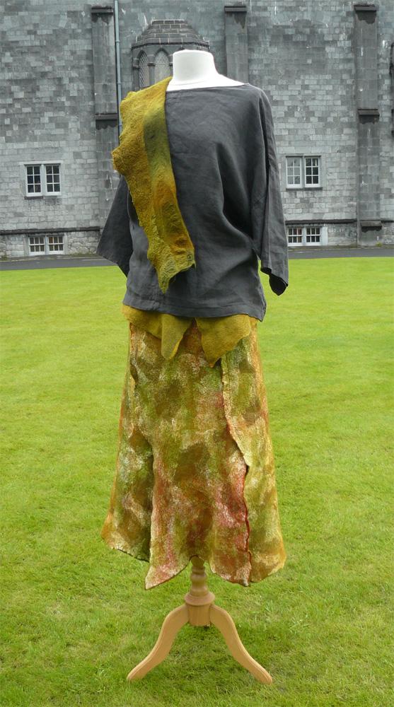 Felt skirt and wrap outside Kilkenny Castle