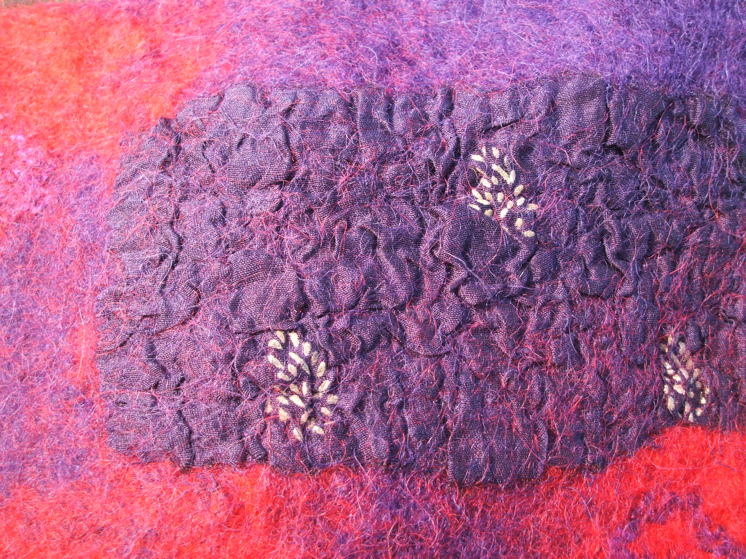 Silk and cotton mix fabric felted with Icelandic wool