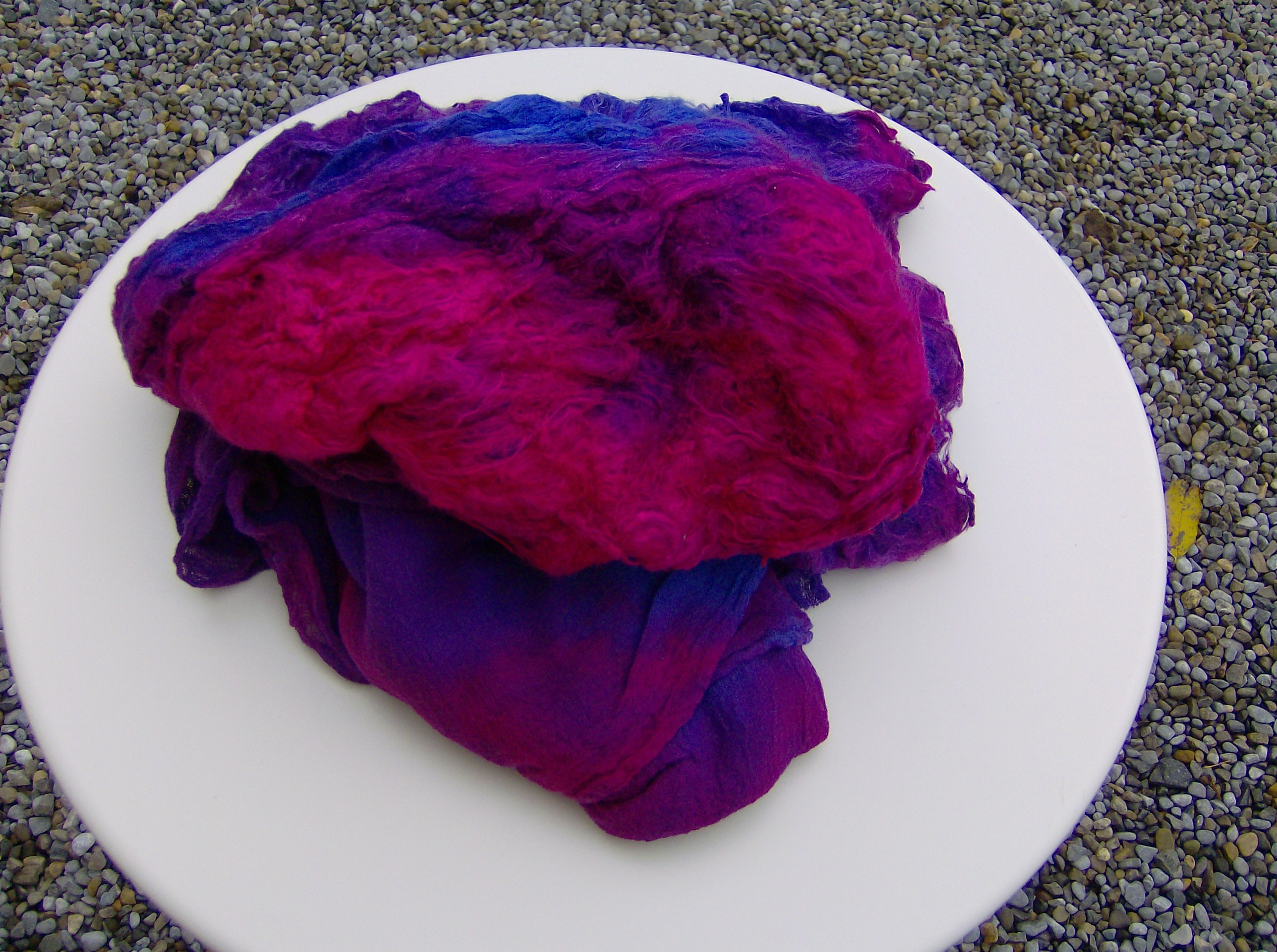 Hand dyed silk laps and cotton gauze