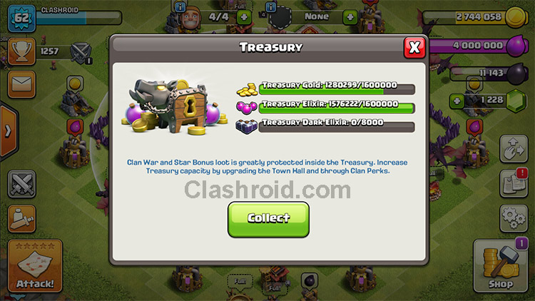 Clash of Clans Treasury, COC Treasury, coc treasury farming, Star Bonus Farming