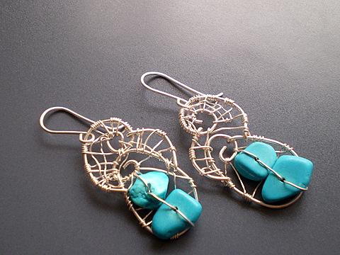 bijuterii cu turcoaze-cercei lucrati manual