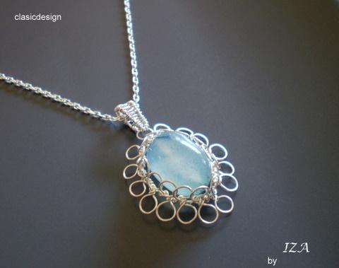 colier argint-pandantiv- albastru
