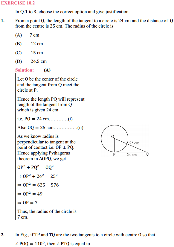 NCERT Solutions for Class 10 Maths Chapter 10 Circles Ex 10.2 1