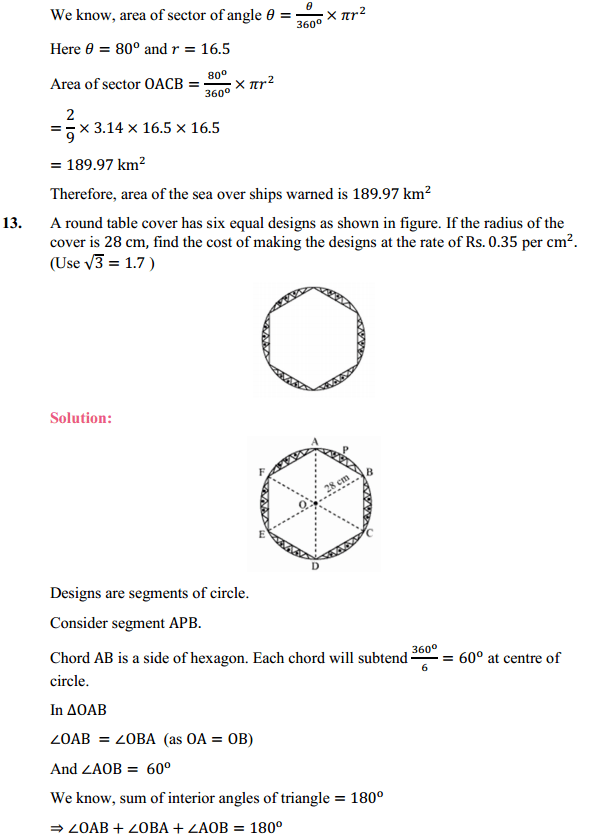 NCERT Solutions for Class 10 Maths Chapter 12 Areas Related to Circles Ex 12.2 13
