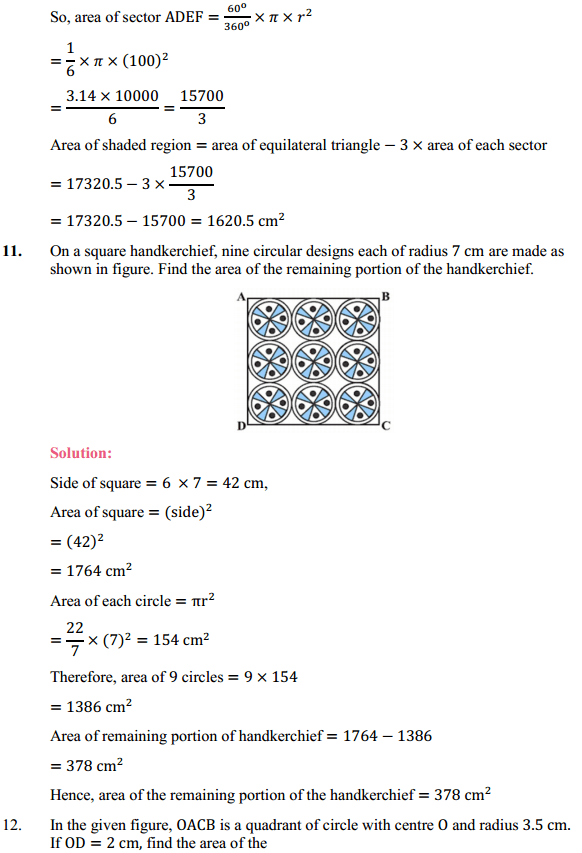 NCERT Solutions for Class 10 Maths Chapter 12 Areas Related to Circles Ex 12.3 13
