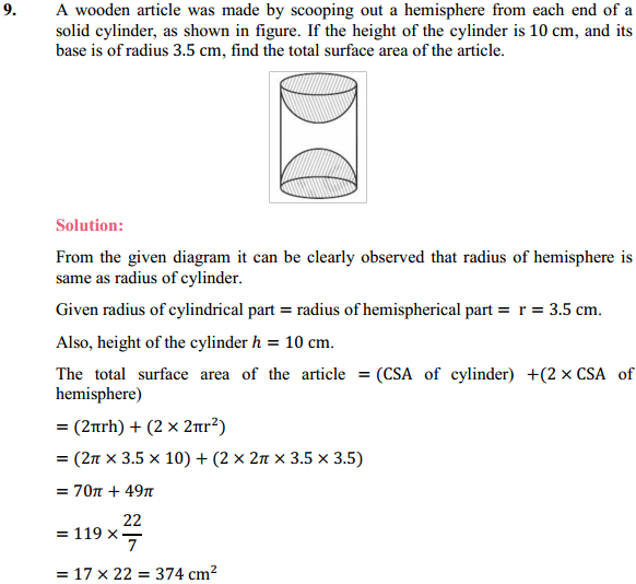 NCERT Solutions for Class 10 Maths Chapter 13 Surface Areas and Volumes Ex 13.1 7
