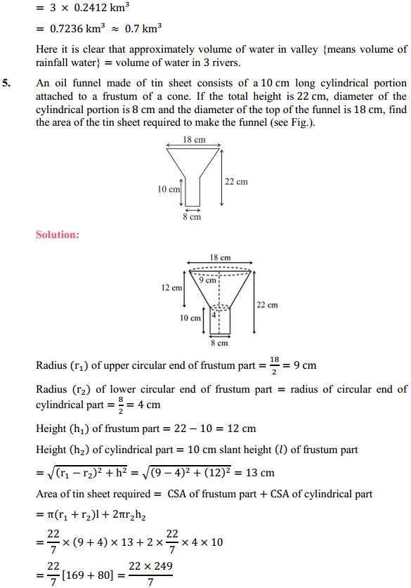 NCERT Solutions for Class 10 Maths Chapter 13 Surface Areas and Volumes Ex 13.5 5