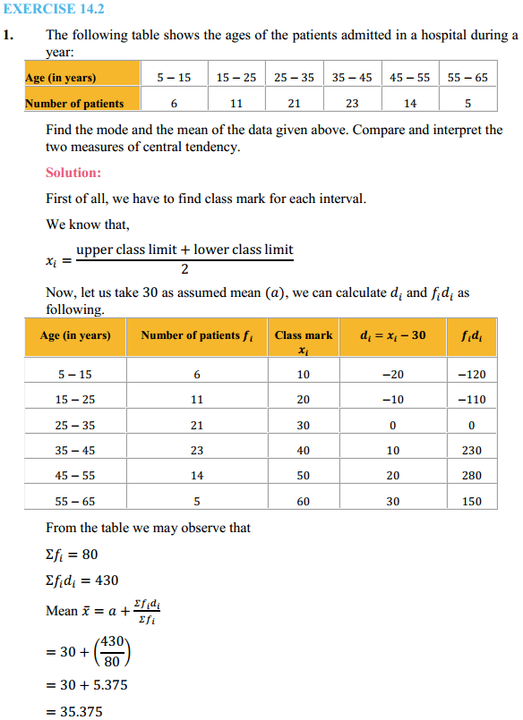 NCERT Solutions for Class 10 Maths Chapter 14 Statistics Ex 14.2 1