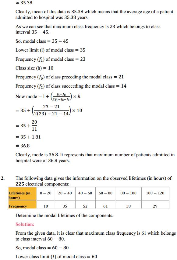 NCERT Solutions for Class 10 Maths Chapter 14 Statistics Ex 14.2 2