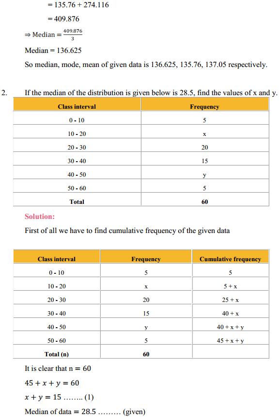 NCERT Solutions for Class 10 Maths Chapter 14 Statistics Ex 14.3 3