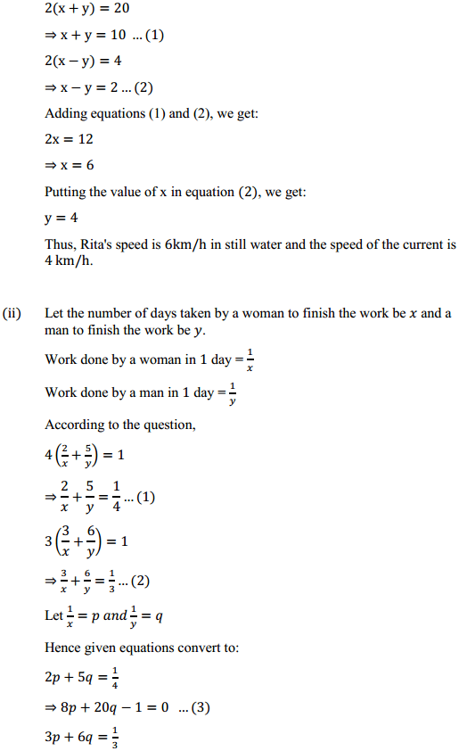 NCERT Solutions for Class 10 Maths Chapter 3 Pair of Linear Equations in Two Variables Ex 3.6 9