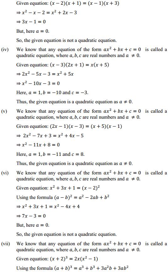 Class 10 Maths Chapter 4 Quadratic Equations Ex 4.1 2 NCERT Solutions