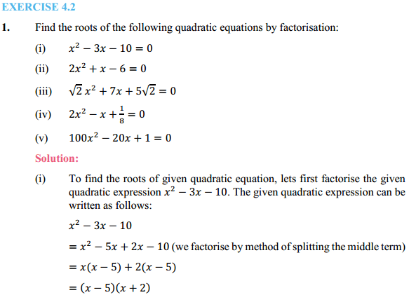 NCERT Solutions for Class 10 Maths Chapter 4 Quadratic Equations Ex 4.2 1