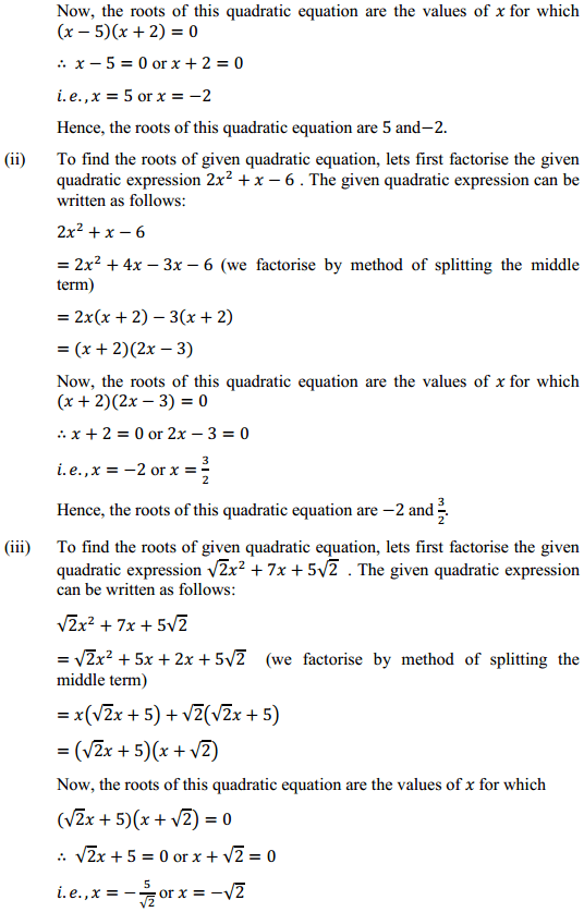 NCERT Solutions for Class 10 Maths Chapter 4 Quadratic Equations Ex 4.2 2