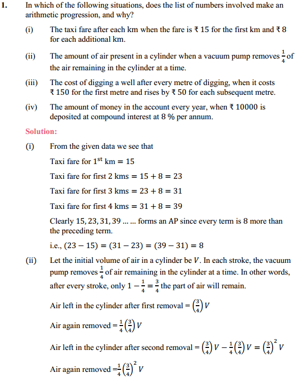 NCERT Solutions for Class 10 Maths Chapter 5 Arithmetic Progressions Ex 5.1 1