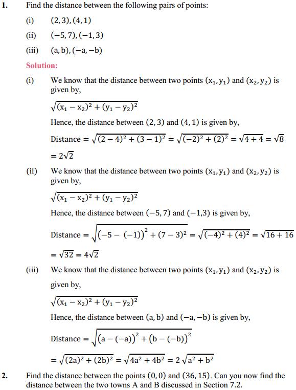 NCERT Solutions for Class 10 Maths Chapter 7 Coordinate Geometry Ex 7.1 1