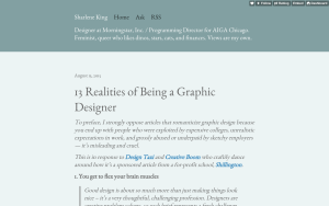 "Sharlene King's article ""13 Realities of Being a Graphic Designer"""