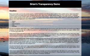 Transparency Demo screenshot