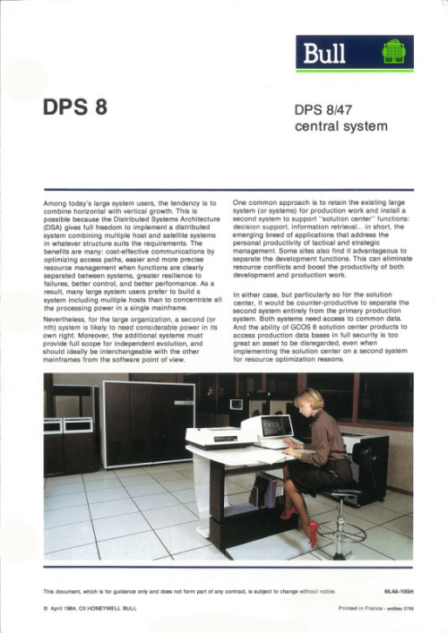 Bull DPS 8/47 central system
