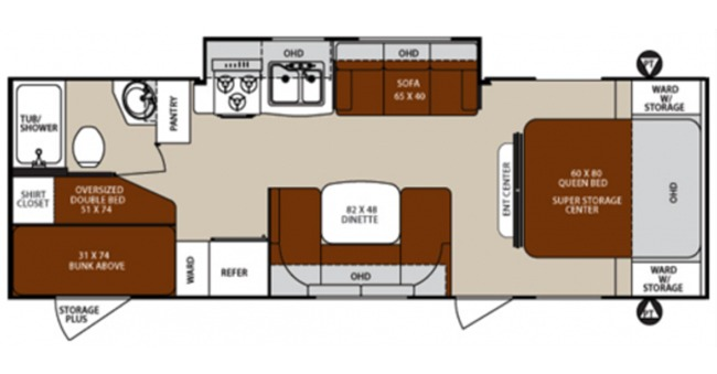 #10 Bunkhouse Trailer Floorplan