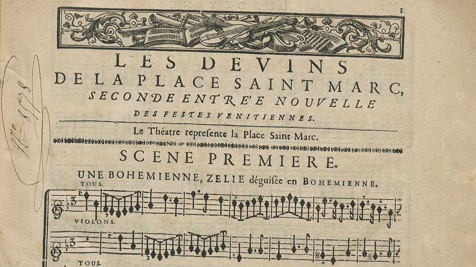 André Campra, Les Devins de la place Saint-Marc, seconde entrée ajoutée aux Fêtes vénitiennes, 1710, partition imprimée