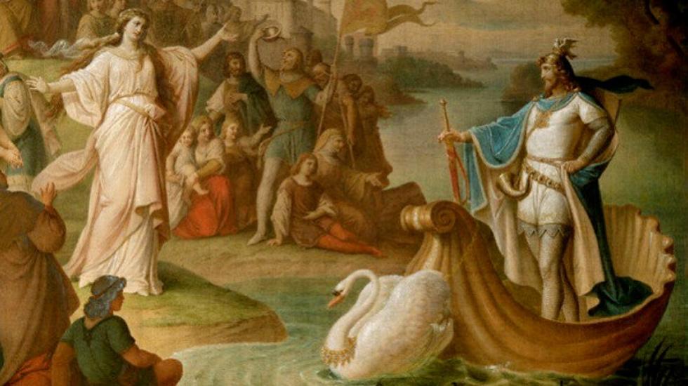 Arrivée de Lohengrin (au Brabant). Peinture murale dans la salle de séjour, du château de Neuschwanstein, August von Heckel, 1882/83