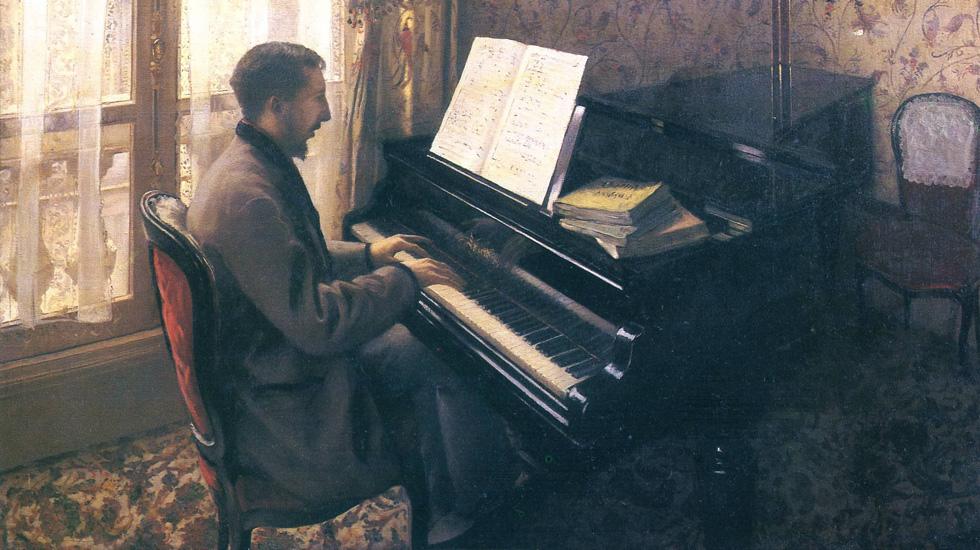 Gustave Caillebotte, Jeune homme au piano (Martial Caillebotte) (1876) © [Public domain, GFDL (http://www.gnu.org/copyleft/fdl.html)