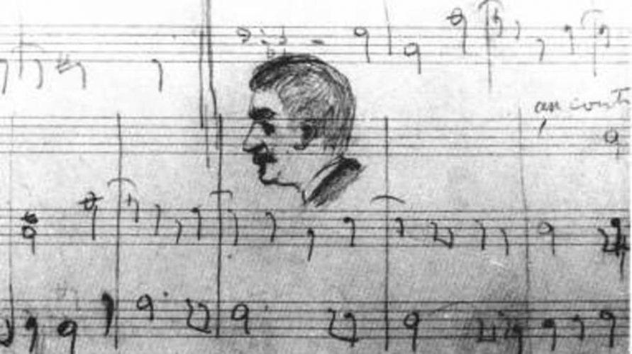 Devoir de Contrepoint de Déodat de Séverac avec un croquis du profil de Vincent d'Indy au crayon © Pierre Guillot