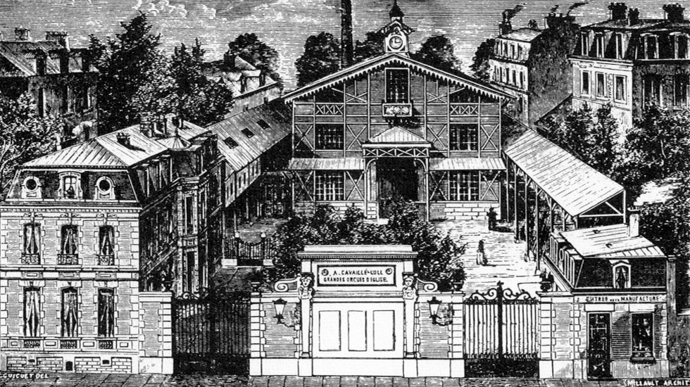 Illustration de l'hôtel particulier et des ateliers d'Arisitide Cavaillé-Coll, vue depuis l'Avenue du Maine.