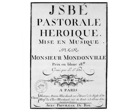 Couverture de la partition d'Isbé de Jean-Joseph Cassanéa de Mondonville