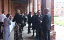 Attendees Enjoy Light Refreshemtns in the Clositers of QUB Lanyon Building