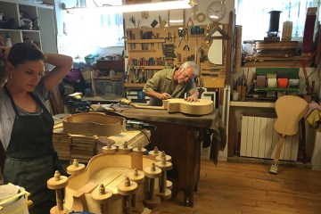 Maria Conde and assistant in the Felipe Conde Workshop Classical Guitar Magazine Spanish Guitar Nylon Luthier