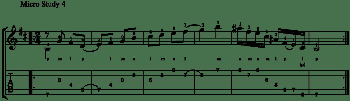 Classical Guitar Method Barrios Prelude Micro Study 4