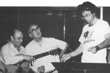 Classical guitarist Julian Bream, Gareth Walters and Leo Brouwer