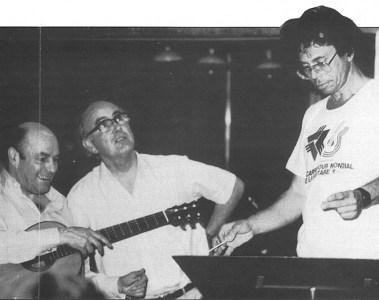 Classical guitarist Julian Bream, Gareth Walters and Leo Brouwer